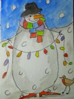 ACEO original watercolour painting - Lighten up - by Polly