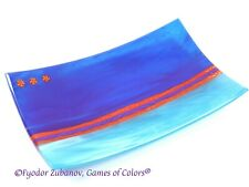 "Games of Colors: A decorative fused glass plate ""Blue Melody"""