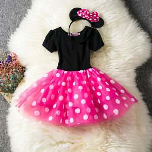 Girl Halloween Costume Dots Mouse Baby Tutu Birthday Party Dress Size 1-5