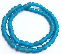 African Ghana Blue Teal transparent matte recycled glass trade beads-Ghana