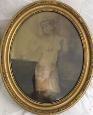 Old 20th c Female Nude Mixed Media Painting  Signed Antique Gilt Frame
