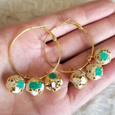 NEW Womens 3.5 cm Gold-Tone Ring Green-Gold-Color Bell Ball Huggie Hoop Earrings