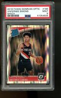 2018 Panini Optic Shock #186 Anfernee Simons Blazers Rated Rookie Card RC PSA 9