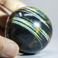 189g 51mm Natural Blue Yellow Tiger/Hawk Eye Quartz Crystal Sphere Healing Ball