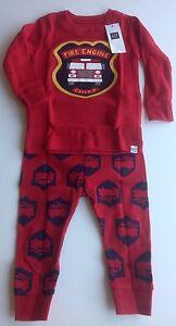NWT Gap Baby Boy Firetruck 2 Pc Pajama Set 6-12 Month Free Shipping NEW MSRP $23