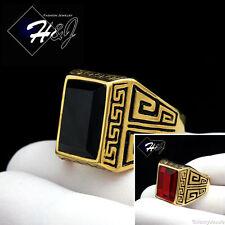 MEN Stainless Steel Gold/Black Greek Key Rectangle Onyx/Ruby Ring Size 7-13*GR86