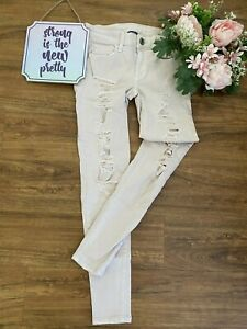 American Eagle AEO Jeans Super Stretch Ripped Dusty Pink Jegging Crop 0 Reg NWOT