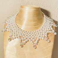 VTG Estate Pearl Necklace Collar Choker Art Deco Revival Rare Japan Quilted