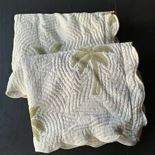 Waverly PAIR Pillow Shams Matelasse Botanical Palm Trees Quilted Cream Standard