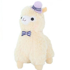 "Japan Amuse 14"" Arpakasso Alpacasso Alpaca Plush Beige Llama Toy With Purple Hat"
