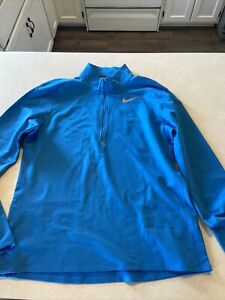 Nike Mens Large Dri-Fit 1/2 Zip Running Pullover Long Sleeve Blue Thumbholes