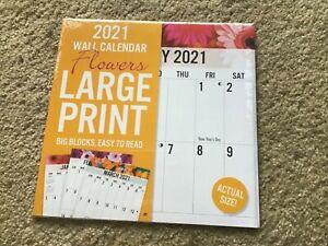 SEALED~2021~ 12 x 12 WALL CALENDAR~FLOWERS~LARGE PRINT~BIG BLOCKS~EASY TO READ!