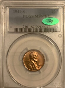 1941-S Lincoln Cent, MS67RD, PCGS (CAC)