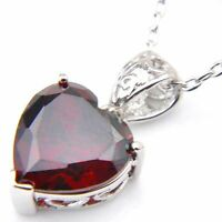 100% Natural Jewelry Heart Style Fire Red Garnet Silver Chain Necklace Pendant
