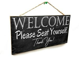 "Black Restaurant Welcome Please Seat Yourself Sign Plaque 5x10"" Bathroom"