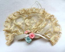 Vintage 1970's Hand Made Victorian Style Lace Fan Christmas Ornament