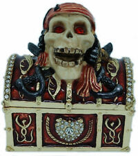 PIRATE TREASURE CHEST   ~ BEJEWELED & ENAMEL TRINKET BOX  #3972