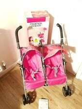 Mamas & Papas Doll's Pop Duo Pram - Pink & Grey.