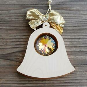 Wooden Bell with Crystal suncatcher wall window decoration ornamnet