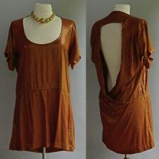 Anthrogologie Nicholas K Dress Copper Metallic Silk Liquid Snake Skin Backless M