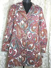 Bigio Collection Women's sz 8 Long Paisley metallic Jacket button Niemen Marcus