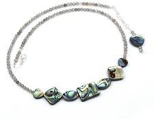 Labradorite Abalone Shell Necklace Sterling Silver Gemstone Women Jewelry 3 MM