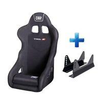 OMP TRS-E Black Velour Fabric Steel Frame Race Rally Bucket Seat & Free Mounts!