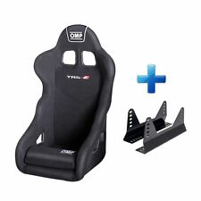 OMP TRS-E Black Velour Fabric Steel Frame Race Rally Bucket Seat & Free Mounts!