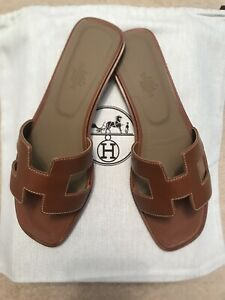 Hermes Tan Oran Sandals Size 39 / UK 6 Authentic