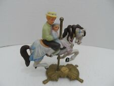 "American Carousel Boy w/ Grandpa by Tobin Fraley 8"" Signed on Brass Stand #3352"