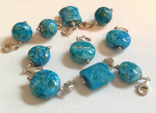 Lela Belle Hand Blown Murano Glass Beads - Set of 10 - Shades of Turquoise B26