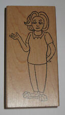 "Woman Wearing Slippers Rubber Stamp New 4"" High Lady Mom Wood Mounted"