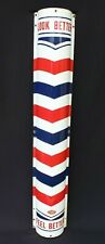 """Vtg William Marvy Porcelain Metal Curved Barbershop (Barber Pole) Sign 48"""" Long"""