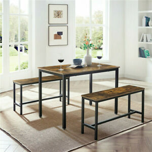 3pcs Bar Table And Stool Set for Kitchen Dining Room Metal and Wood Bench Chairs