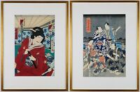 Two Gold Framed Japanese Antique Woodblock, Original Woodblock from 19 Century
