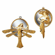 Lady Dragonfly & Orb Madame Art Deco Mirror Wall Sculpture Set of 2