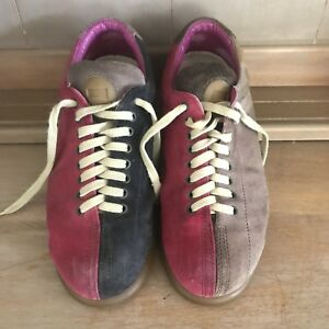 /🍃 CAMPER Raspberry Pink Brown Suede Leather Lace Up Loafers Sneakers 6 37