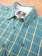 TIMBERLAND EARTHKEEPERS GREEN SHORT SLEEVE CHECK SHIRT PTP 21 INCHES COLLAR 15.5