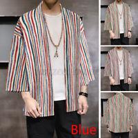 Mens Japanese Striped Kimono Coat Retro Baggy Yukata Casual Outwears Tops Shirts