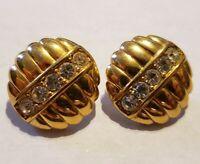 Vintage SAL. SWAROVSKI Signed Earrings Pierced Goldtone clear crystal