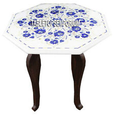 """15"""" Marquetry White Marble Coffee Table With Stand Lapis Floral Work Inlay Decor"""