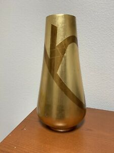 """18"""" Gold and Brown vase made in China color is gold leaf."""