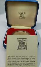 1977 SILVER PROOF CROWN THE QUEEN'S SILVER JUBILEE ORIG ROYAL MINT CASE & C.O.A.