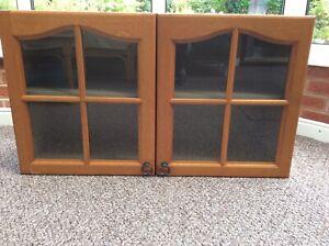 Wall Cupboard with Medium Oak and Glass Doors. Interior Shelf. 100cm x57cm x33cm