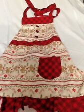 St. Nicholas Square CHILD BIB APRON~Christmas Gingerbread Men,Candy Canes~NEW