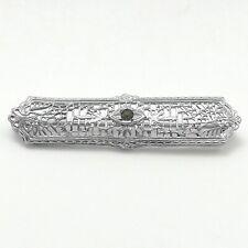 Art Deco Rhodium Plated Bar Brooch Pin 3.6 gr