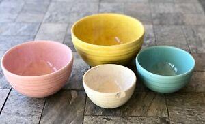 Vintage Rare McCoy 4 Piece Matte  Color Glaze Ribbed Mixing Nesting Bowl Set NH