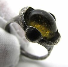 SAXON SILVER RING W/ YELLOW STONE / GEM - RARE ANCIENT WEARABLE ARTIFACT - F298