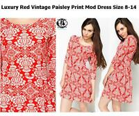 LADIES RED PAISLEY SIZE 8-14 SHIFT DRESS 60's MOD TWIGGY SKATER TUNIC XMAS PARTY