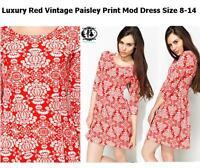 LADIES RED PAISLEY ORNATE SIZE 8-14 SHIFT DRESS 60's MOD TWIGGY SKATER TUNIC VTG